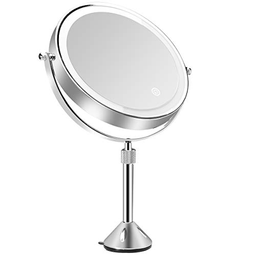 Servineart 1X &10X Magnifying Double Sided Vanity Makeup Mirror 360 Degree Free Rotation Table Cosmetic Bathroom Mirror with Adjustable Height Rod, Light and Touch Dimmer, 7.87 inch, Round, Chrome