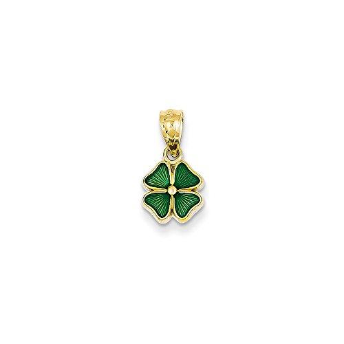 14k Gold Green Enameled Four Leaf Clover Pendant (0.79 in x 0.39 in) ()