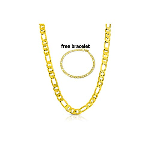 BLING CULTURE Life Time Warranty 7mm Gold Figaro Chain Necklace for Men Women Lifetime Replacement Free 4mm Bracelet (20) ()