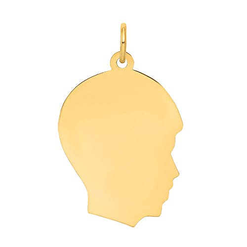14k Boy Head - Nina's Jewelry Box 10K Yellow Gold Plain Medium .013 Gauge Facing Right Engravable Boy Head Charm