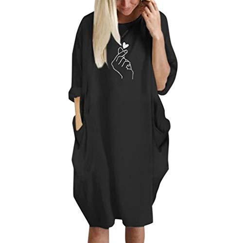 - iLUGU Womens Pocket Loose Dress Ladies Crew Neck Casual Long Tops Dress Plus Size