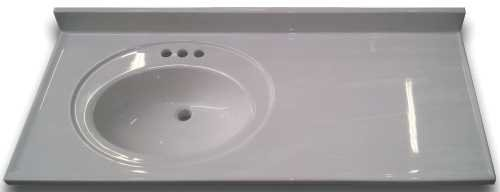 Left Bowl Vanity - PREMIER BATHROOM VANITIES & CABINETS 2474646 Bathroom Vanity Top With Left Recessed Bowl, Cultured Marble, Solid White, 22X37