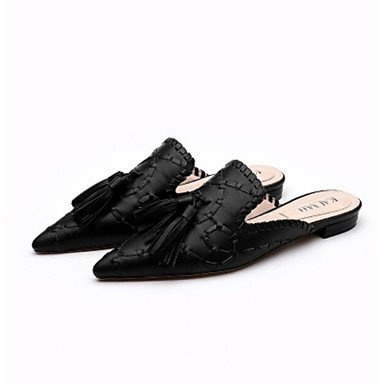 NVXZD Negro ocasional de la PU de la PU del slingback del verano de las sandalias de las mujeres Negro