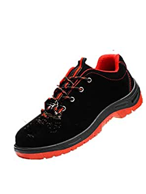 SHANLEE Steel Toe Shoes Men's Safety Work wear Shoes Casual Breathable Shoes(red 36/5.5 B(M) US Women/3.5 D(M) US Men)