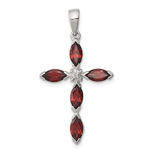 925 Sterling Silver Red Garnet Diamond Cross Religious Pendant Charm Necklace Gemstone Fine Jewelry Gifts For Women For Her