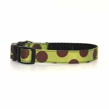 Walk-e-Woo Polka Dot Dog Collar (Moss Green/Brown) (XSmall)