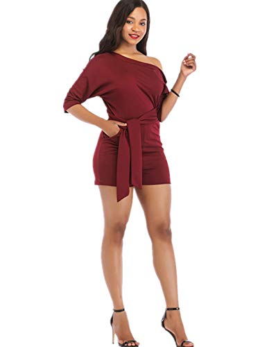 - One Shoulder Rompers for Women Shorts Elegant Night Sexy Casual Summer Jumpsuits Dress Wide Leg Pants Plus Size Jujube Red S