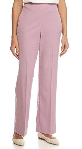 Alfred Dunner Women's Winter Garden Solid Pants (Regular & Petite & Plus Size) (Rose, 12P Short) (Dunner Alfred Blazer)