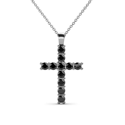 Petite Black Diamond Cross Pendant 0.35 cttw in 14K White Gold with 14K Gold Chain by TriJewels