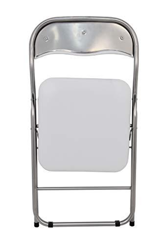 La Chaise Espagnole Sevilla – Chaise pliante fabriquées en aluminium avec siège et dossier rembourrés en PVC, Blanc