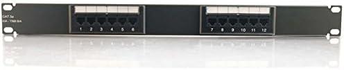 Black C2G 03850 12-Port Cat5e 110-Type Patch Panel