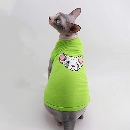 Sphynx Hairless Cat Breathable Summer Cotton Shirts Pet Clothes, Pullover Kitten Vest T-Shirts Sleeveless, Cats & Small Dogs Apparel Solid Color 14
