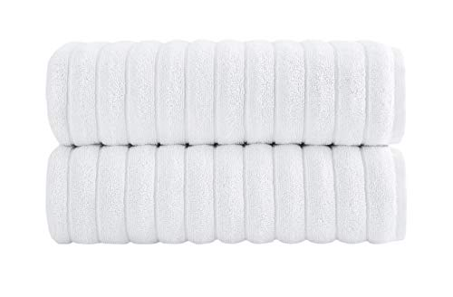 Spa Rib (Luxury Bath Towel Collection Set - Combed Cotton Hotel and Spa Quality Bath Towels - Made with 100% Turkish Cotton Jacquard Rib Style - Made in Turkey (27X54 Bath Towels, White))