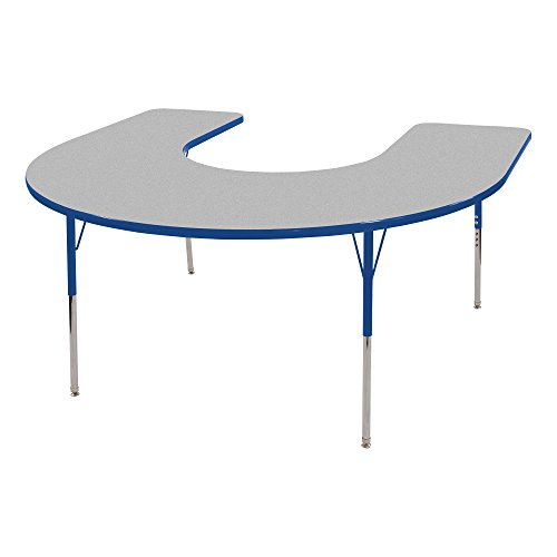 Horseshoe Activity Table (Sprogs SPG-RCEHS72C-P-GBL Adjustable Horseshoe-Height Preschool Activity Table w/ Self Leveling Glides,Grey/Blue)