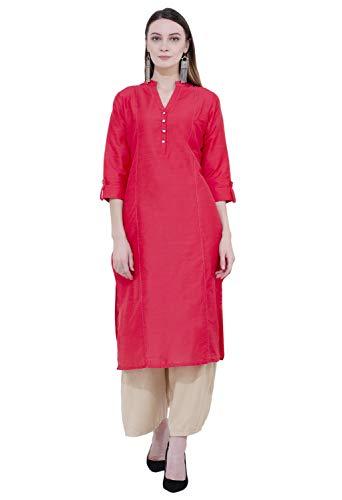 - Lagi Designer Polly Silk Straight Kurti for Women Printed Tunic Top Mandarin Collar ¾ th Sleeve Dress