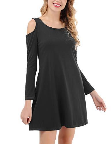 Shoulder T Cold Uniboutique Shirt Women's Swing Black Dress with Pockets aqCTwZExnC