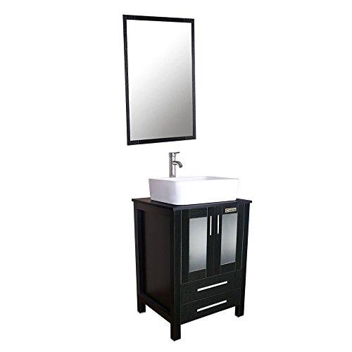 U-Eway 24 Inch Black Bathroom Vanity Cabinet with 2 Draweres W/Mirror Set,Square -