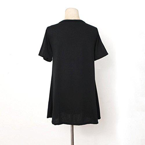 Vovotrade Mujeres Túnica de cuello en V blusa suelta Top manga corta camiseta Negro