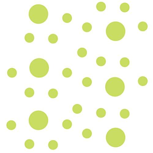 Set of 30 - Circles Polka Dots Vinyl Wall Decals (Chartreuse)