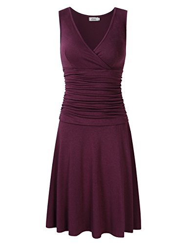 MISSKY Women V Neck Sleeveless Crossover Wrap Ruched Waist Slimming Swing Cocktail Dress (XL, WP-Sleeveless)