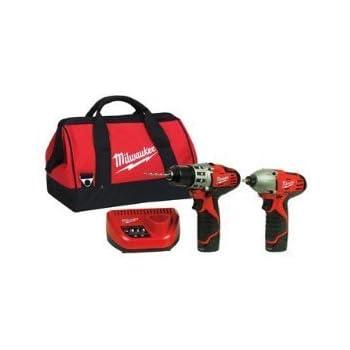 Milwaukee 2494-22 M12 Cordless Combo Drill Kit, 2 Battery