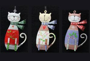 gisela graham set of 3 tin cat christmas tree decorations