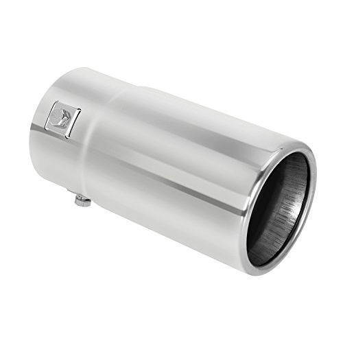 Exhaust Tip Cover - Tritrust Car Muffler Tip - Stainless Steel to give Chrome Effect - To Fit 1.5 to 2.5 inch Exhaust Pipe Diameter - Installation Clamps Included
