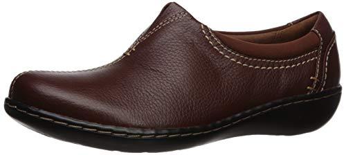 CLARKS Women's Ashland Joy Loafer, Dark Tan Leather, 100 M US
