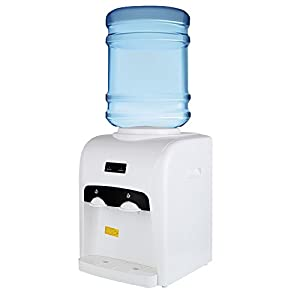 KUPPET Electric Hot Cold Water Cooler Dispenser Counter Top Home Office Use 3-5 Gallon white (15.75inch/wieght 9lbs)