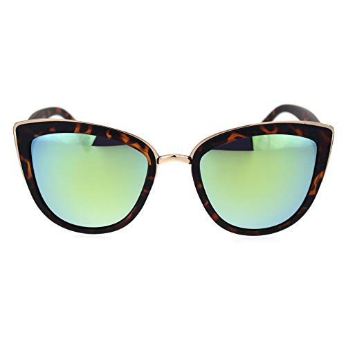 SA106 Womens Color Mirror Mirrored Lens Oversize Cat Eye Sunglasses Tortoise ()