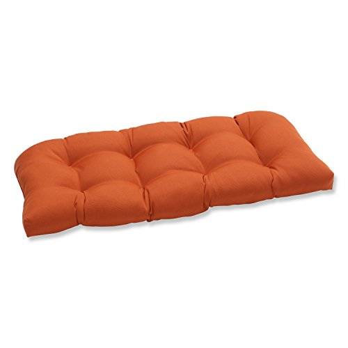 Pillow Perfect Indoor/Outdoor Cinnabar Wicker Loveseat Cushion, Burnt Orange