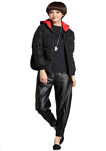 Mode En Noire D'hiver Veste Duvet Taille Longues Grande Pour Simple h Manches Black À De Femmes xg0wYq