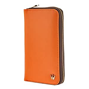 ZXM-Multi Purpose Crown Zip elegante bolso monedero de la cartera para el iPhone y Samsung (Naranja)