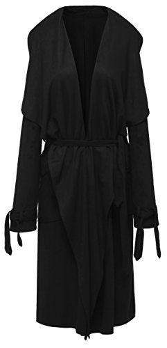 Belted Trench Lightweight Coat - Wantdo Women's Casual Suede Trench Coat with Belt, Medium