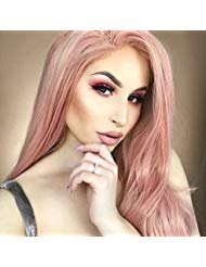 Goodyard Fashion Coral Doll Coral Pink Wavy Lace Front Wigs,Synthetic Hair Replacement Wig For Women Costume
