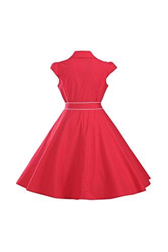 Digne Fuse Robe Style lgante red Bouton Mancherons Une Sevozimda Hepburn Femme Et Cwzvqwax0