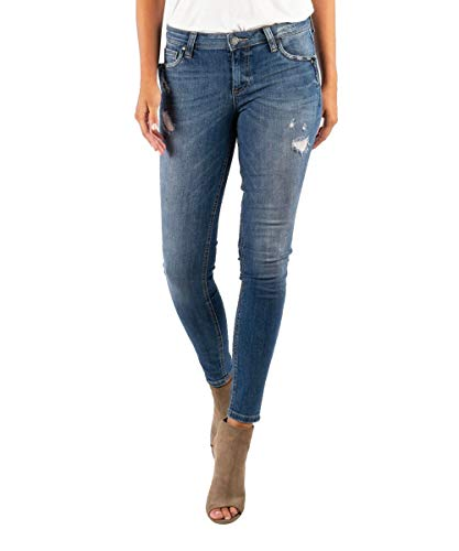 KUT from the Kloth Women's Mia Toothpick Skinny Notch Front Pocket Jeans in Rallied Rallied/Medium Base Wash 8 31