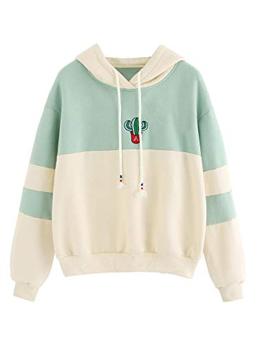 - SweatyRocks Womens Long Sleeve Colorblock Pullover Sweatshirt Fleece Hoodie (Medium, Beige_Green#1)