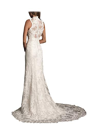 Ellenhouse Women's 2019 Lace Long Vintage Country Style Bridal Wedding Dress Beige