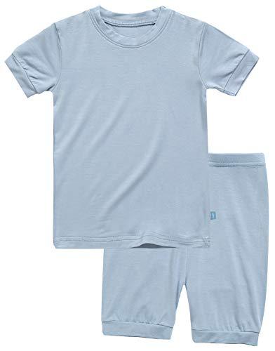 (Boys Short Sleeve Sleepwear Pajamas 2pcs Set Short Colorful Bluegrey XS)