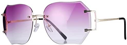 Pro Acme Fashion Oversized Rimless Sunglasses Women Clear Lens Glasses Available