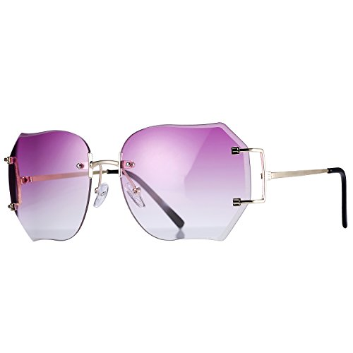 [Pro Acme Fashion Oversized Rimless Sunglasses Women Clear Lens Available (Purple)] (70s Ladies Fashion)