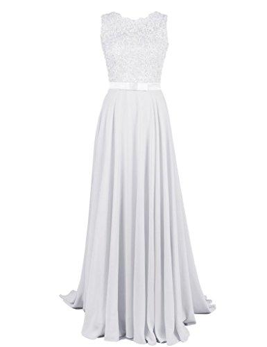 Shiningdress Women's Fashion Applique Chiffon Long Prom Dress Size 4 White