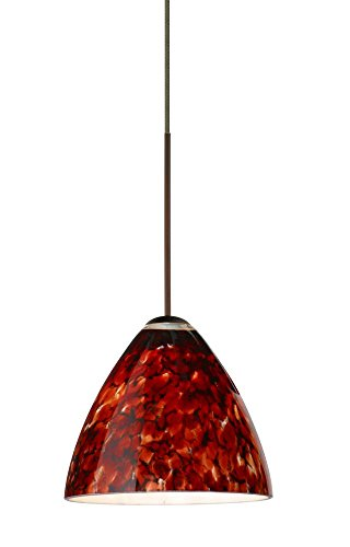 Besa Lighting 1XC-177941-LED-BR 1X6W Led Lightsource Mia Pendant with Garnet Glass, Bronze ()