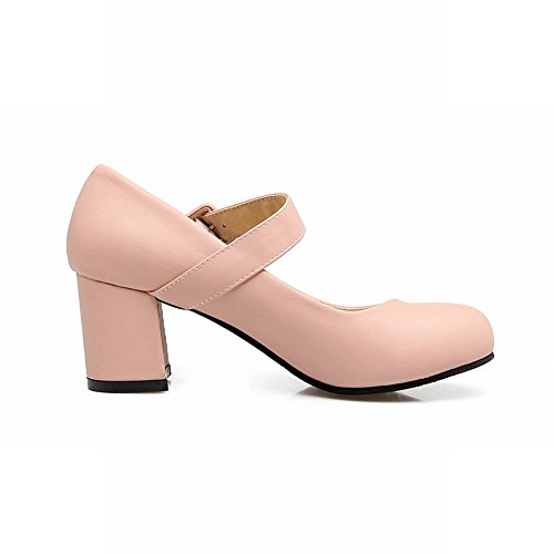 Mee Shoes Women's Sweet Round Toe Buckle Mid Heel Court Shoes Pink HX4pi1