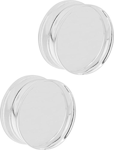 Plug Clear - Set of 1 Inch Clear Acrylic Ear Gauges, 25mm Solid Double Flared Saddle Plug Earrings