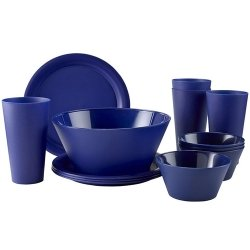CreativeWare CH623NY 13 Piece My First Dorm/Apartment Plastic Dish Set, (Microwave Plastic Plates)