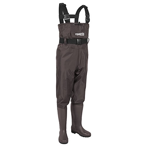 Review TideWe Bootfoot Chest Wader, 2-Ply Nylon/PVC Waterproof Fishing &Hunting Waders for Men and Women Brown Size 9