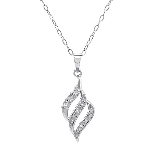 Amanda Rose Collection Sterling Silver and Diamond Swirl Pendant-Necklace on an 18 inch Chain