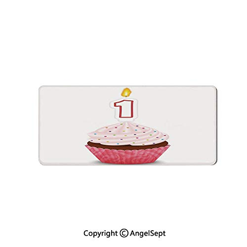 Large Mouse Pad with Nonslip Base, Thick, Comfy,Mat for Desktop, Laptop, Keyboard-1st Birthday Decorations,Kitchen Cuisine Inspired Pastry Cupcake Party,16